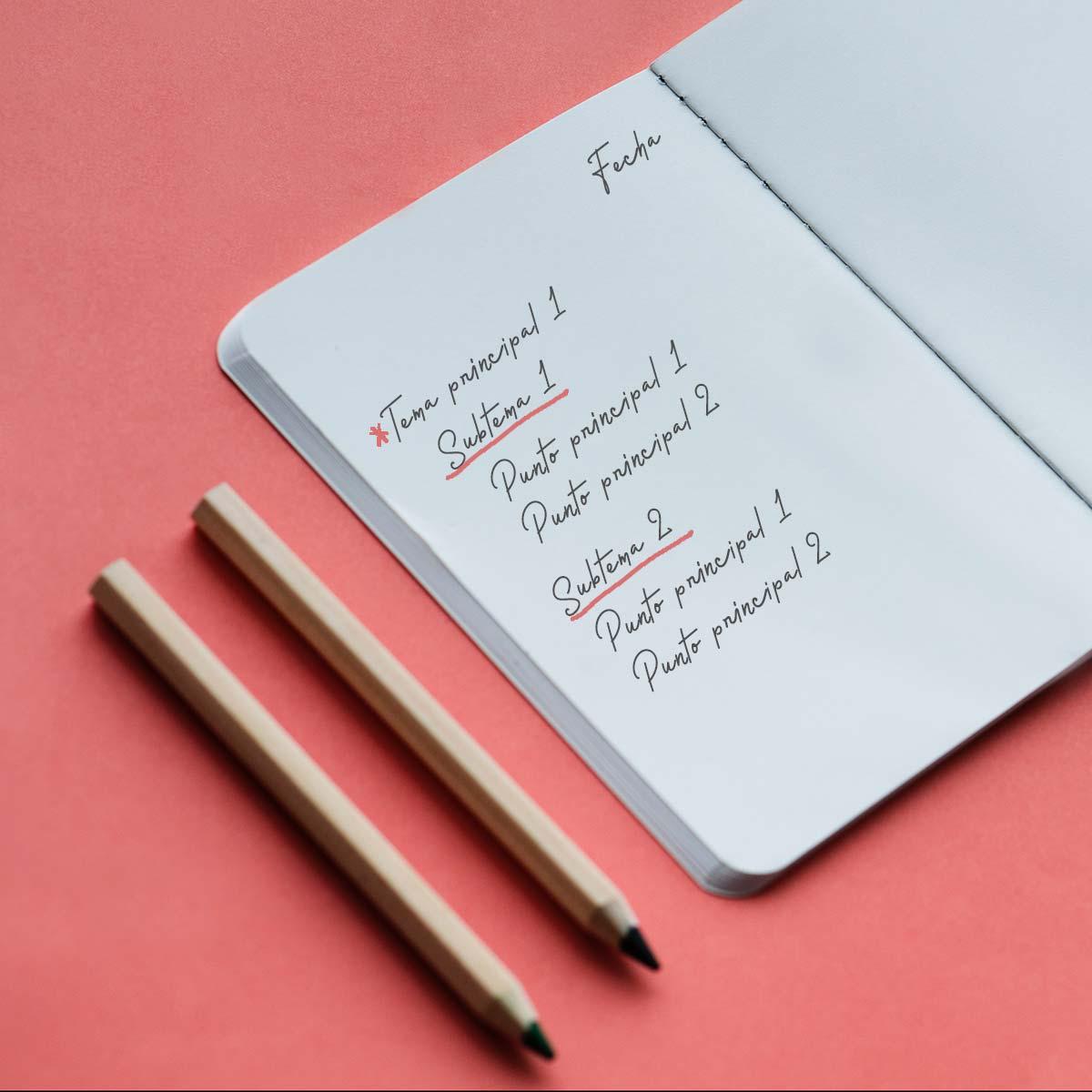 Métodos para tomar notas eficientemente: Método outline