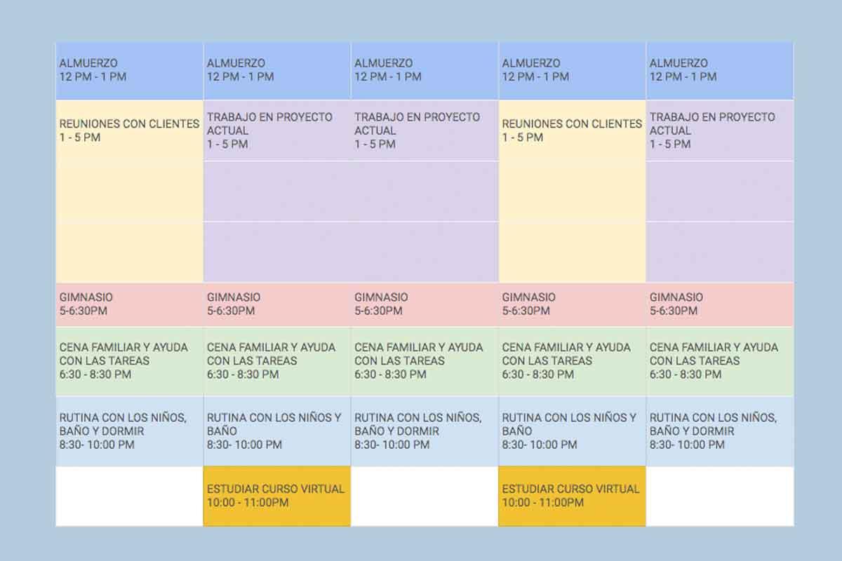 """Cómo usar """"time-blocking"""" - Calendario"""
